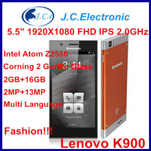 in stock Original Lenovo K900 Duel core Intel Atom Z2580 2048Mhz 2G RAM 16G Android 4.2 5.5 inch IPS 13MP camera Cell phone