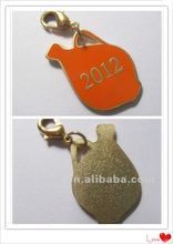 2015 Gold mobile ring strip keychain with logo print on the backside