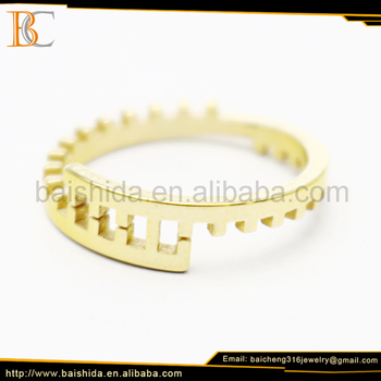 competetive design dentation men ring gold plated jewelry