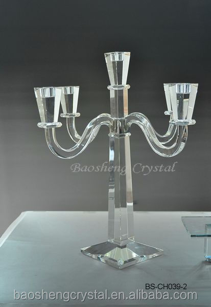 Hot ! Black Interspersed 5 Arms Crystal Cheap Candelabra for weddings & home decorations (BS-CH069)