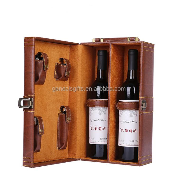 High-end Leather two bottle Leather Wine box Hot Sale