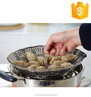 Hot selling food grade large food steamer vegetable basket stainless steel butterfly fruit tray