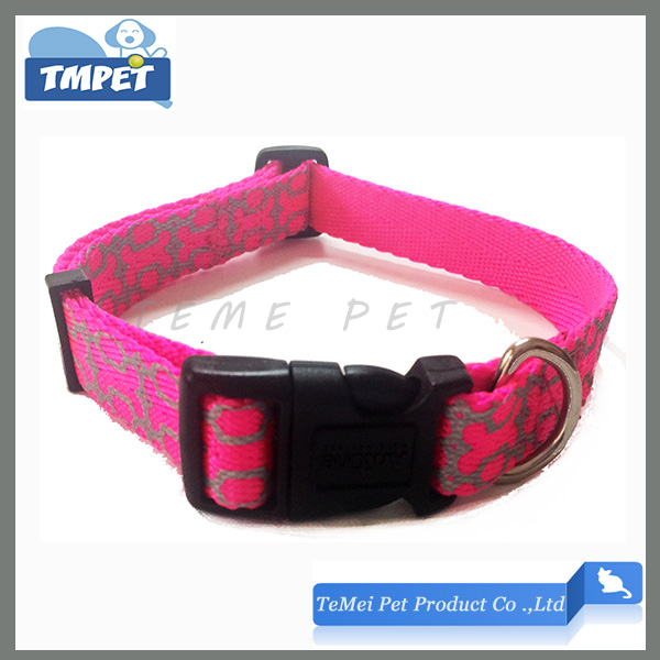 Reflective print dog collar fluorescent