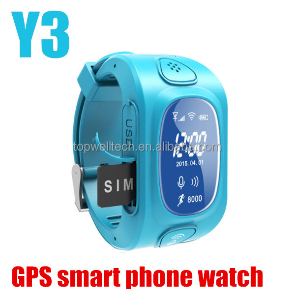 2017 promotion Y3 GPS/GSM/Wifi Tracker dual sim wrist watch mobile phone gps phone with sos support GSM phone