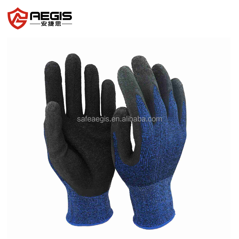 Cut resistant nylon and spandex knitted lined rubber hand gloves