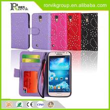 china supplier book style leather cell phone case for Samsung Galaxy S4 I9500