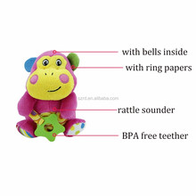 2017 Daisy Monkey Infant Soft Plush Animal Rattle Toy Teether Baby Cartoon Stuffed Hand Rattle Teething Toy with Bells