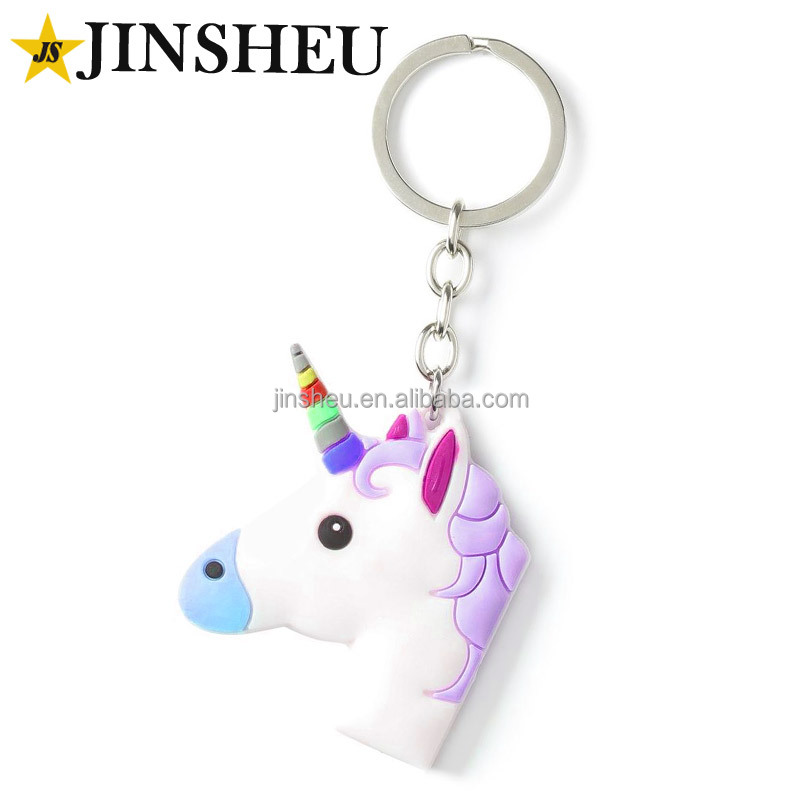 Promotional cheap custom kids rubber unicorn keychain