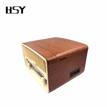 Retro wooden CD record cassette AM FM radio turntable record player