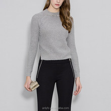 Anly pure color contracted splicing long sleeve knit small unlined upper sweater for women