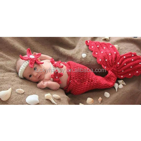 100% Acrylic Material Kintted Blanket baby mermaid tail blanket