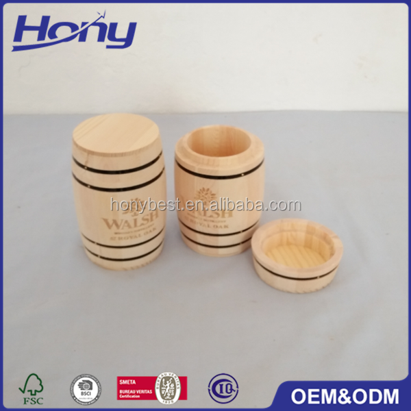 Custom LOGO and Wood Crafts Decorative Cheap Mini Wooden Barrels with Black Bands for Sale