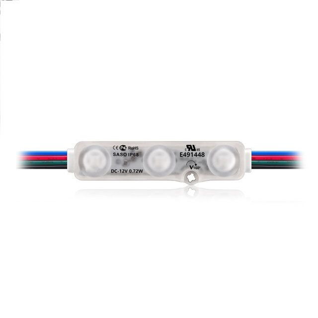 5050 UL rgb led pixel module 3 chips with lens 12v waterproof High Brightness addressable led module light for channel letter
