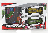Racing car assembly puzzle,Promotional child mini toy track car With Puzzle