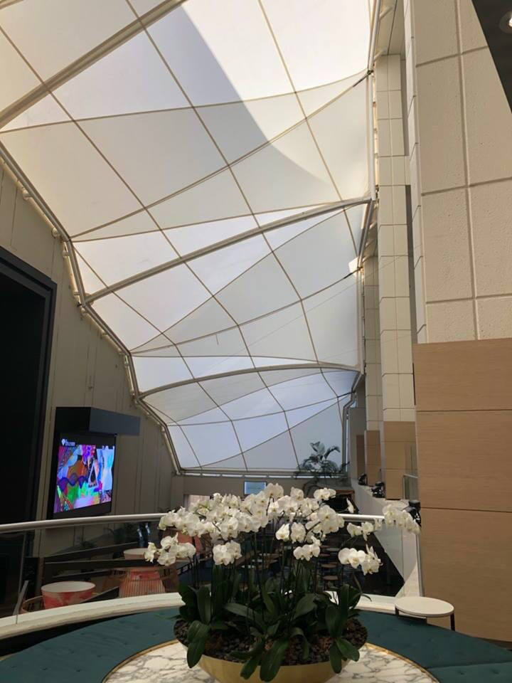 Latest hot sale steel tensile membrane structure for hotel atrium