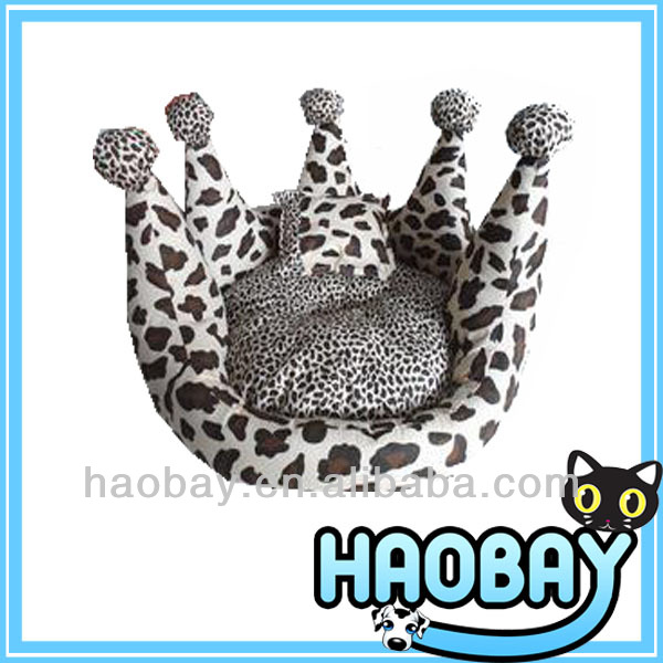 Leopard Crown Shaped Cozy Craft Luxury Pet Dog Beds