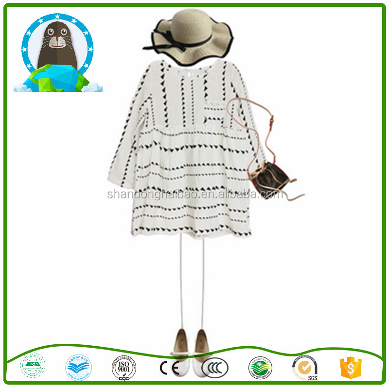 Girls dress 2017 spring and autumn new white triangle printed cotton children dress