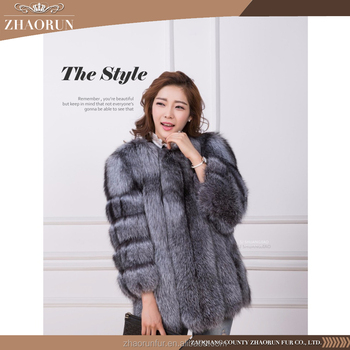 2017 new design real fox fur coat / fashion lady fur winter jacket
