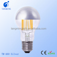 China Fashion design half-chrome silver mirror led filament bulb e27 4w 6w led vintage light filament