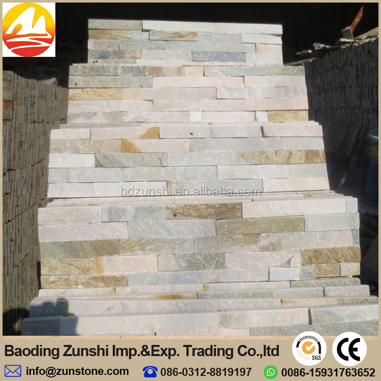 Natural Beige Stacked Stone Tiles Wall Decoration