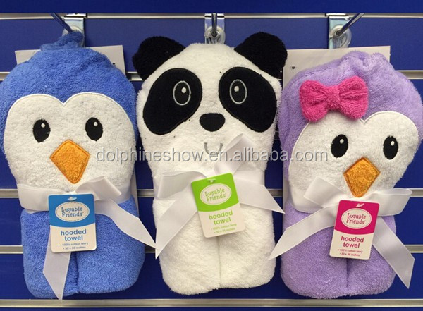Fashion 100% cotton terry baby hooded bath towel set custom cute panda design baby bamboo towel