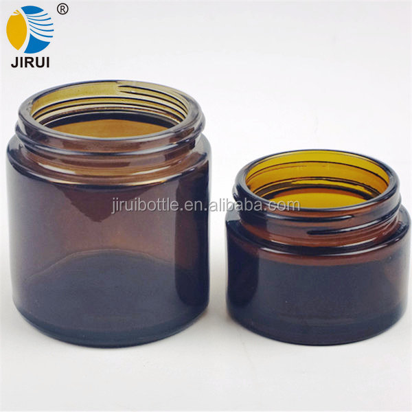 50ml 100ml amber empty cosmetics cream empty glass jar for face cream