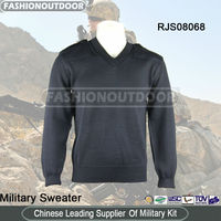 Wool/Acrylic Black Military Jumper Sweater/Pullover