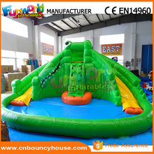Crocodile water slide inflatabe water slide with swimming pool