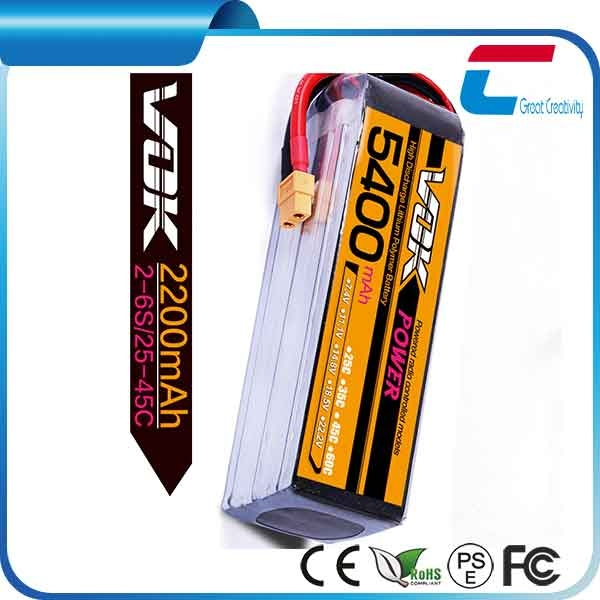 7.4V 5400mAh 2cell 35C rc battery for car and helicopter models hobby parts