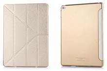 Retail 1pcs Leather case for ipad 2/3/4 PU Folding Stand silk leather case for ipad 4