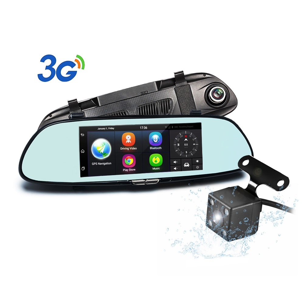 3U-80194 Dash Cam 7 Inch Rearview Mirror 3G Android 5.0 GPS WIFI Car Camera dashcam DVR Video Recorder Dual Lens DVRs Bluetooth