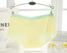 yellow ice silk contrast briefs panties / chmx seamless sexy panties candy color underwear /top quality women panties