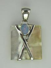 Sterling Silver Mother of Pearl Pendant with Opal