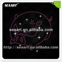 hot fix rhinestone transfer design pet pink pig