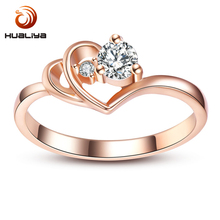 Jewelry Cubic Zirconia Rose Gold Color Wedding Austrian Crystal Rings Fashion Heart Ring