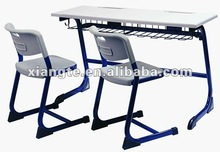 sturdy metal and plastic double desk and chair/high quality double school desk chair with pen slots