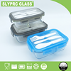 SLYPRC 2 Divider Glass Meal Prep