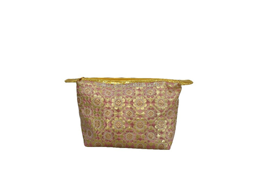 luxurious gold/silver jacquard make up bag/cosmetic cases