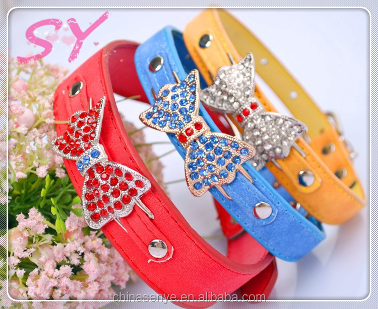 2015 Wholesale pet collars grade PU diamond butterfly bow tie dog collar small dogs and cats