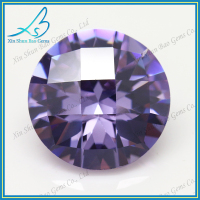 Amethyst checkerboard round cut wholesale gemstone china