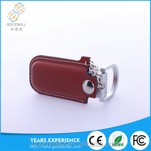 Promotional gift pu leather usb flash drive customized logo