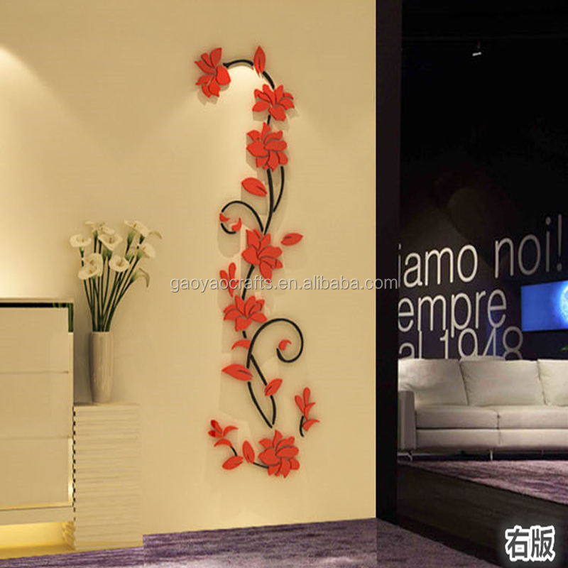 3D stereoscopic wall stickers XS/S/M Acrylic Joy flower vine wall decor room TV background decoration wall stickers home decal