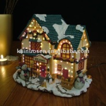 Beautiful fiber optic Christmas resin house