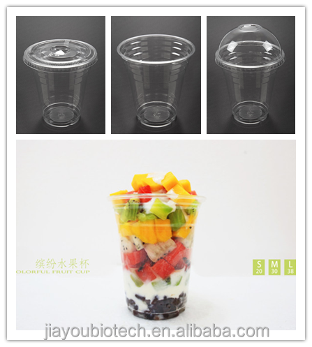 JB14, PET plastic customized juice/iced coffee cup with logo, 1-9 colors