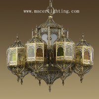 Moroccan mosque stained glass lamp brass chandelier with casting brass