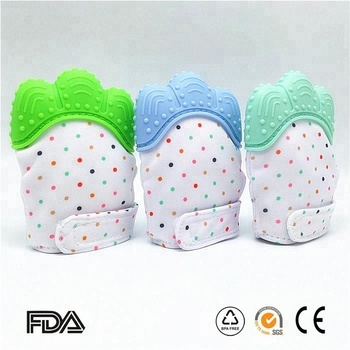Hot sale food grade material bpa free silicone baby teething mitt, toys gloves for infant