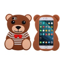 2017 New Deisgn 3D Cute Brown Teddy Bear Cartoon Kawaii Ultra Thick Soft Silicone Rubber Bear Phone Case Cover for Iphone 7/8