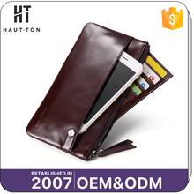 Free Sample Fashion Man Multi Card Clutch Bag Best Selling Casual Men's Genuine Top Cow Leather Long Wallets