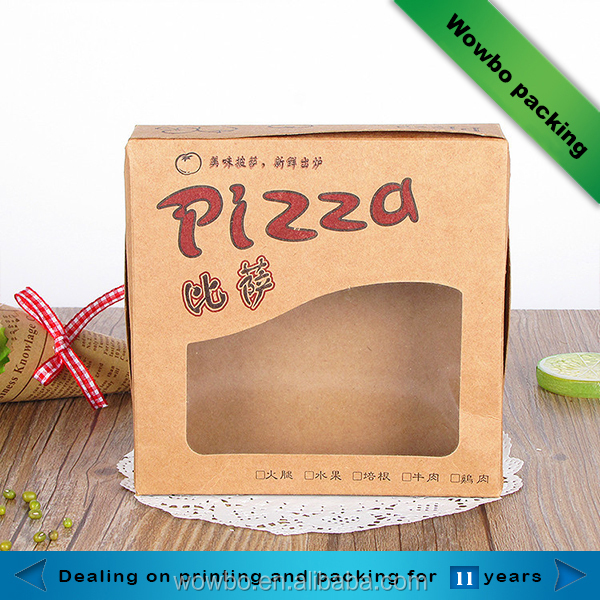 Brown PE coated grease proof kraft paper delivery pizza box with pvc window