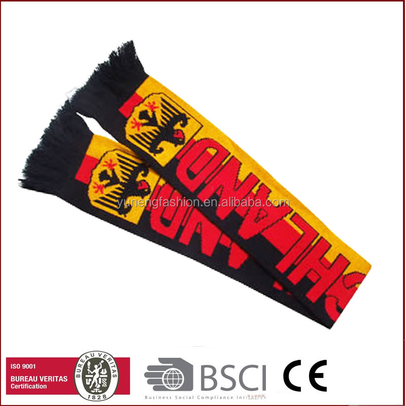 2016 Fashion woven knitted cheap football scarf sports fans scarf